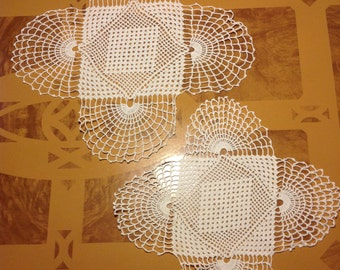 2 Pretty Hand Crocheted Doilies