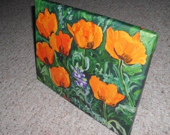 Orange Poppies, Canvas Print of Original Plein Air Oil Painting