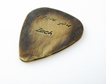 custom guitar pick I love you Valentines Day Personalized Hand Stamped boyfriend  gift Brass or Aluminum
