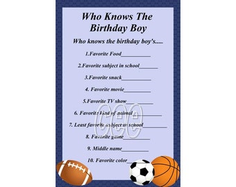 Birthday Party Game For Boy Printable Instant Downloadable