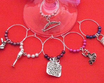 Set of 6 Handmade 'Girlie Nights' Wine Glass Charms by libbysmarketplace