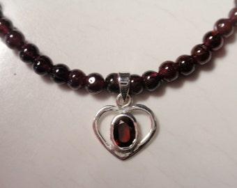 Garnet Necklace, Garnet Pendant  (JK 609)
