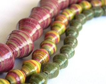 Paper Bead Jewelry Supplies - Paper Beads - Hand painted - Lot of 75 - #107