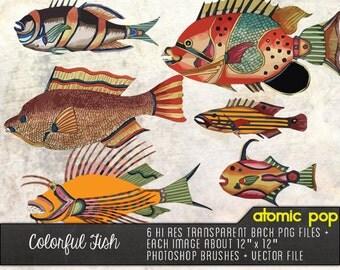 Vintage Colorful Fish// Instant Download // Digital File Photoshop Brushes // Vector // Graphic Design