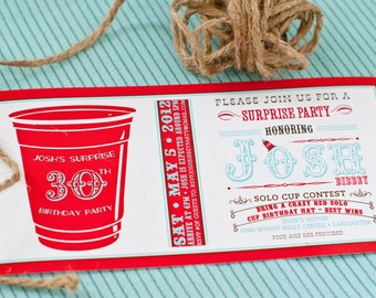 Red Solo Cup Birthday - Printable Customized 4x8 Invitation