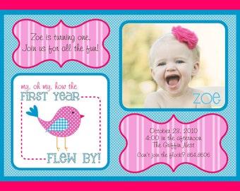 Sweet Tweet Birdie First Year Flew By Bird Baby First Birthday - Blue & Pink - Printable Customized Invitation