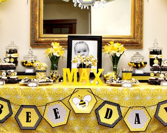 Bumble Bee Day Happy Bee Day Buzz Honey Beehive First Birthday - Printable Customized Package
