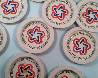 1776-1976 Official American Revolution Commemorative Set of Bicentennial Enameled Drink Coasters