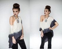 Ombre Off the Shoulder Shirt, Ombre High Low Shirt, Dip Dyed Shirt, Dip Dyed Off the Shoulder Blouse, Dip Dyed Blouse, S, M, L, XL