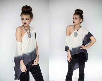 Ombre Off the Shoulder Shirt, Ombre High Low Shirt, Dip Dyed Shirt, Dip Dyed Off the Shoulder Blouse, Dip Dyed Blouse, S, M, L, XL