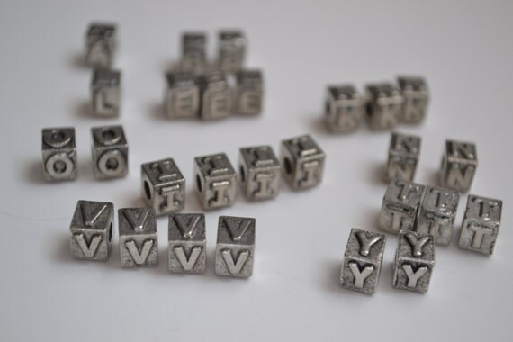 antiqued pewter alphabet beads destash With pewter letter beads