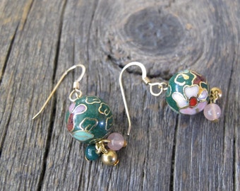 Green cloisonné bead drop earrings