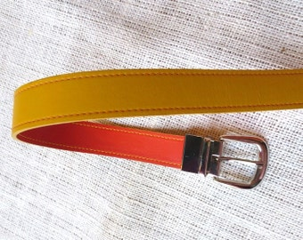 wide orange pink reversible belt with contrast stitching