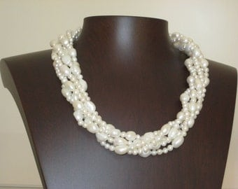 White Baroque Freshwater 5-Row Pearl Necklace.