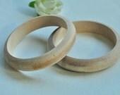 2pcs Wood Bracelet Unfinished Natural Wood Bangle Wood Bracelet - No Varnish & No Lacquer 65mm MT241