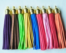 3pcs Large Leather Tassel Fiber Tassel Fringe Tassel with Gold Caps Lightweight Cap Charms 90x12mm LT07