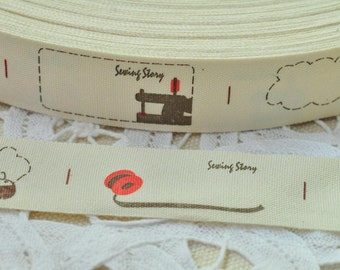 Fabric Label 20mm(3/4'') x 5 Yards Sewing Trim Tape Label Print Tag Ribbon Tape - Sewing Machine Sewing Story Letter Bobbin Beetle Y078