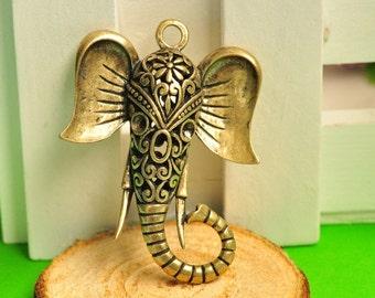4pcs Antique Bronze Large 3D Hollow Out Elephant Charms Big Ears 46x34x12mm K146
