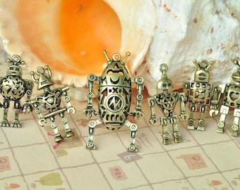 6pcs(1set) Antique Bronze 3D Hollow Robot Charms Robot Family K147