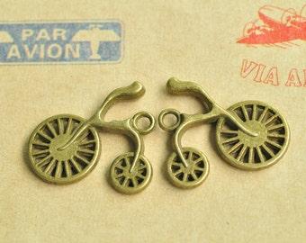 10pcs Antique Bronze Bicycle Bike Cycle Charm Pendant 25x23mm MM235