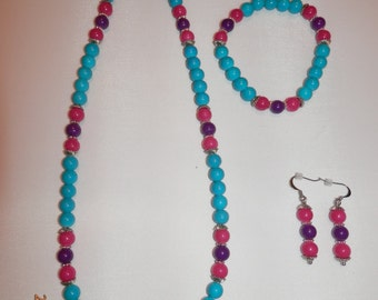 Turquoise with Hot Pink and Purple Set