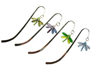 Handmade glass dragonfly bookmark, dragonfly bookmark, dragonfly gift, swarovski crystal bookmark,  silver bookmark, keepsake gift