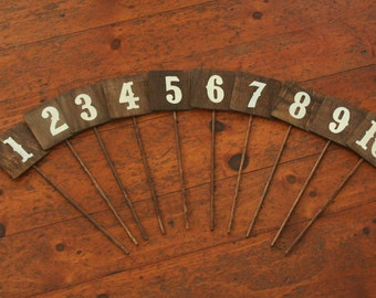 Wedding - Wood Rustic Table Numbers - Sqaure - Made to Order 14 and 18 inches availble