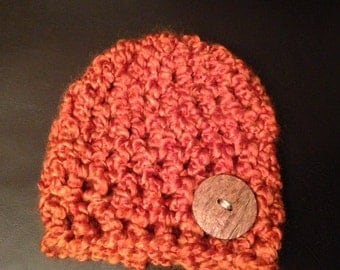 Beautiful Orange Crochet hat with wooden button