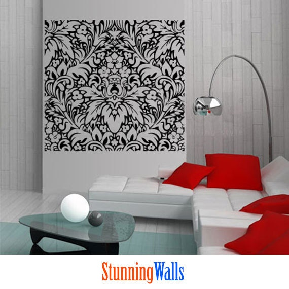 damask wallpaper damask wall sticker damask headboard small damask vinyl wall decal graphic art sticker home decor