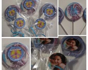 Set of 10 Custom Peace sign Chocolate lollipops tye dyed