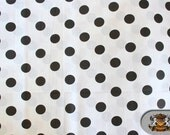"""Polycotton Printed POLKA DOTS Black White Background Fabric / 60"""" Wide / Sold by the Yard"""
