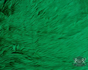 """Faux Fur Long Pile Shaggy Kelly Green Fabric / 60"""" Wide / Sold by the yard"""