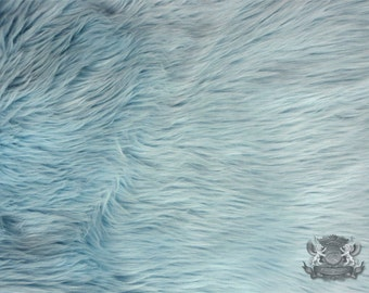 """Faux Fur Long Pile Shaggy Light Blue Fabric / 60"""" Wide / Sold by the yard"""