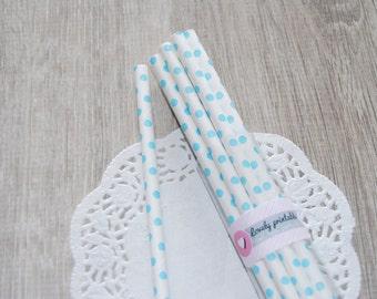 20 polka dot paper straws, sky and white paper straws, party paper straws, baby shower, birthday straws