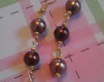 Three Bead Dangle Earrings. Cascading Bead Earrings.