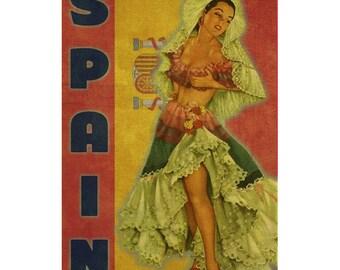 SPAIN 1P- Handmade Leather Mini Wallet / Cardholder - Travel Art