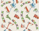 SALE!! - Fat Quarter Riley Blake Cream Main Scoot Cotton Quilt Fabric - by Deena Rutter - Planes, Trains, Helicopters, Scooters (W21)