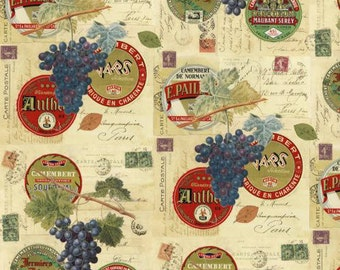 SUPER CLEARANCE! One Yard Wine and Cheese - Labels and Postage Stamps Cotton Quilt Fabric - by Whistler Studios for Windham Fabrics (W118)