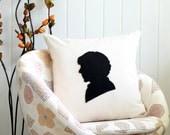 Sherlock Holmes silhouette pillow cover, black cream - Decorative Pillow cover - Natural Fabric - Felt Applique - 18x18 pillow - living room