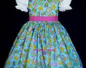 NEW Handmade Decorated Chicks/Eggs Blue Easter Dress Custom Sz 12M-14Yrs