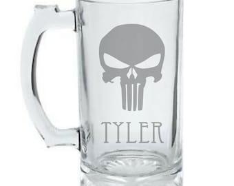 Personalized Punisher Mug - Punisher Logo Mug - Custom Etched Punisher Beer Mug