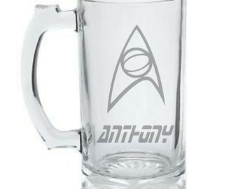 Personalized Star Trek Mug - Star Trek Science Badge Mug - DEEP ETCHED Star Trek Beer Mug