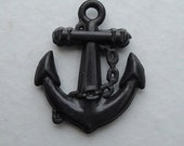 Black plastic anchor charms x10 nautical pirate charm kitsch