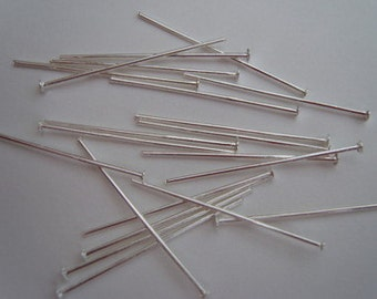 Silver plated head pins 25mm 1 inch headpins pack of 100