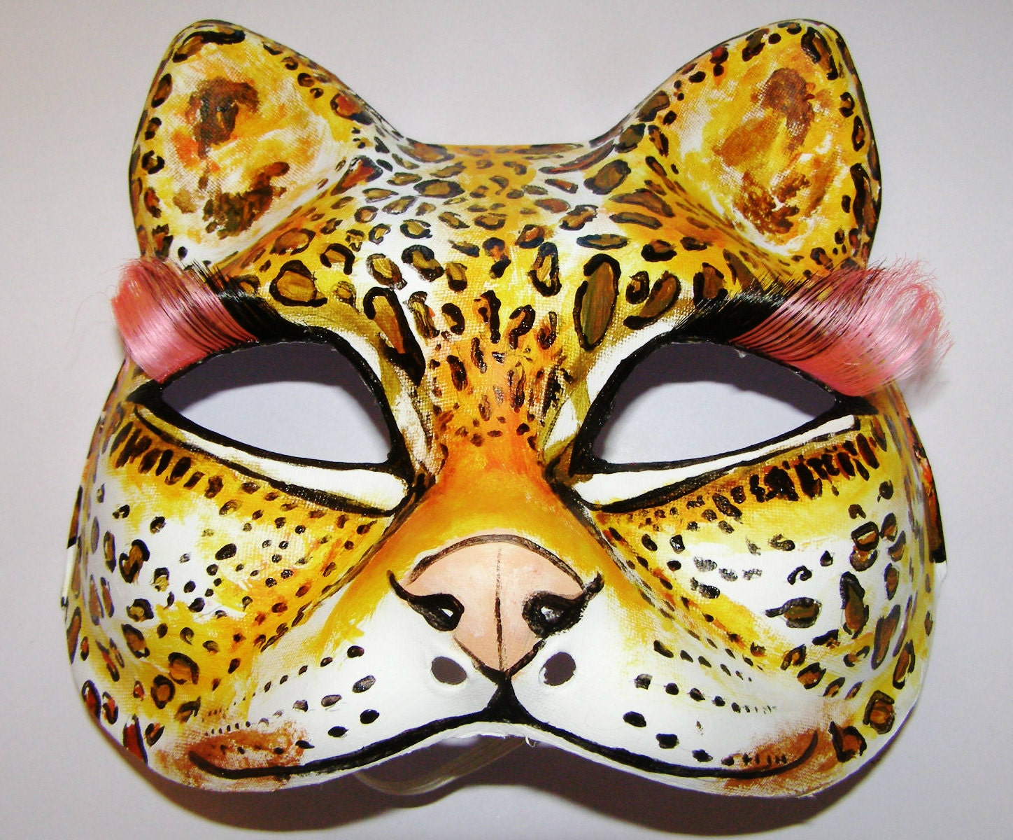 ON SALE Halloween Hand painted cat mask jaguar print with