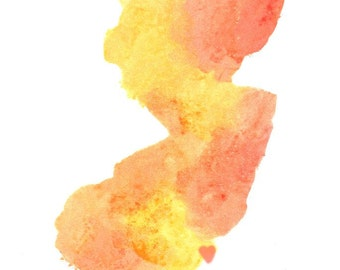 new jersey state art watercolor art print