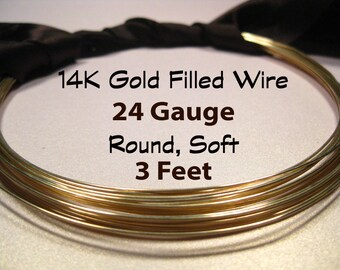 15% Off SALE!! 14K Gold Filled Wire, 24 Gauge, 3 Feet WHOLESALE, Round, SOFT
