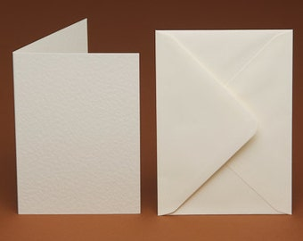 50 A6 BLANK Ivory Hammer Cards and 50 C6 plain Envelopes (Ivory, Cream,White, smooth, linen & hammered)