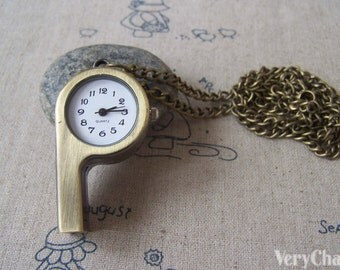 1 Pc of Antique Bronze Whistle Pocket Watch 27x55mm A4617