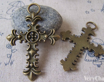 6 pcs of Antique Bronze Cross Pendants Charms 40x61mm A4255